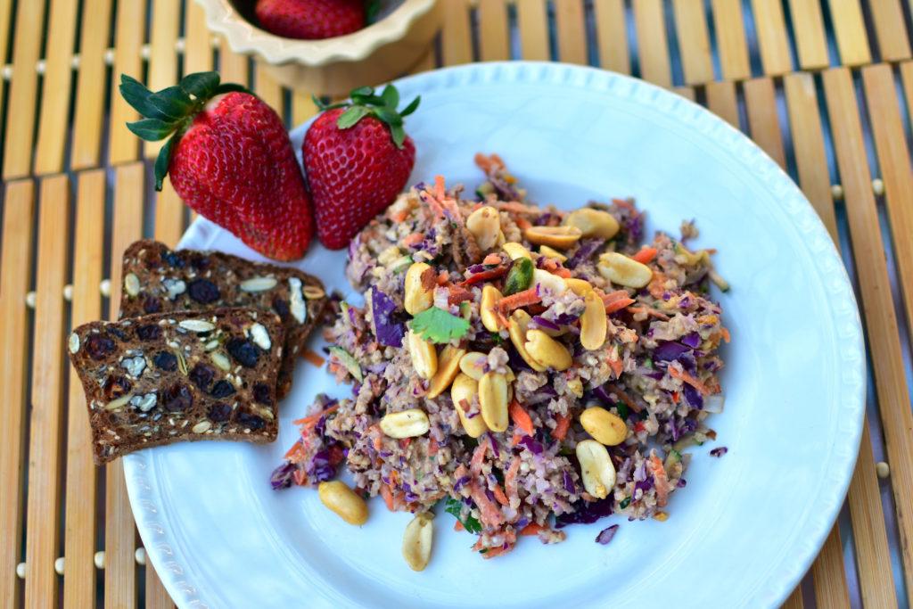 peanut ginger thai peanut salad, wear and back again food tips, thai millet salad, healthy food, nutrients, summer salad